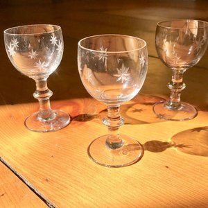 Trio of Vintage Etched Aperitif/ Sherry Glasses